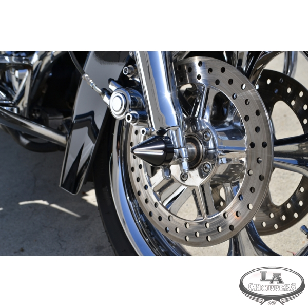 XMMT Black Knurled CNC Cut Aluminum Front Axle Cap Nut Cover for Harley-Davidson Softail Dyna Sportster Touring Electra Street Road Glide Road King