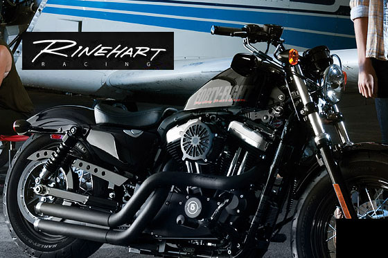 MeanCycles | CROSS BACKS FLUSH EXHAUST SYSTEM BLACK FOR HARLEY